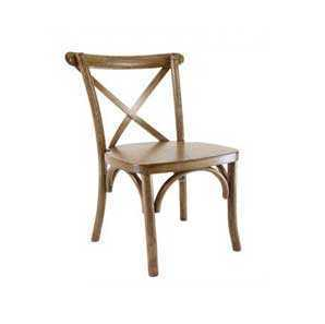 Chestnut wood crossback chair facing forward with a white background.