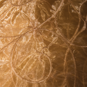 Close up of a gold lace overlay.