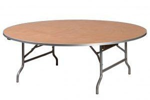 Large 60 inch wood round table with metal trim in front of a white background.
