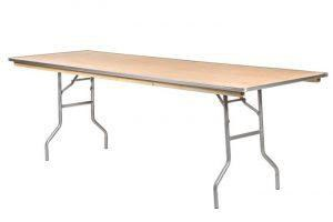96 inch by 30 inch wood rectangular table with metal trim in front of a white background.